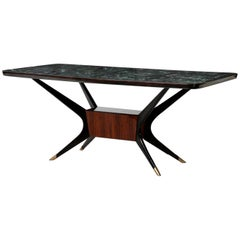 Osvaldo Borsani Table in Lacquered Wood and Crystal, 1960