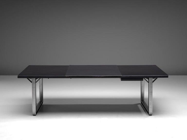 Mid-Century Modern Osvaldo Borsani Table with Black Leather Inlay For Sale