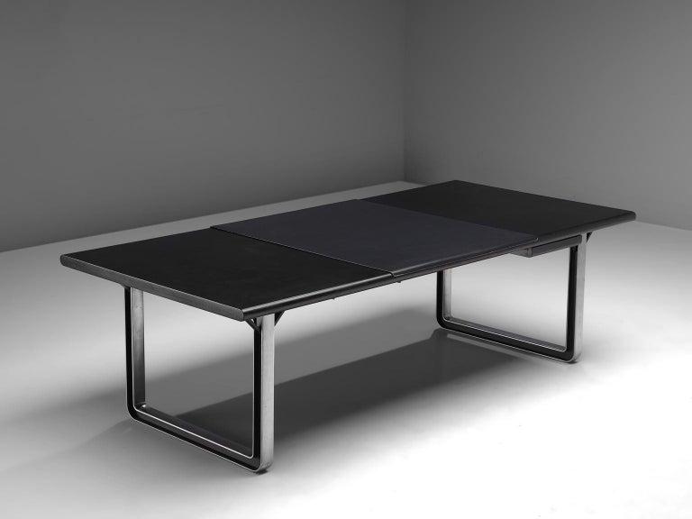Italian Osvaldo Borsani Table with Black Leather Inlay For Sale