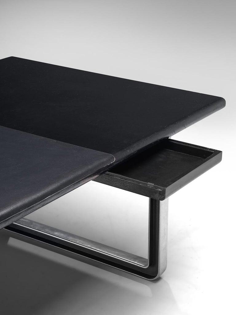 Late 20th Century Osvaldo Borsani Table with Black Leather Inlay For Sale