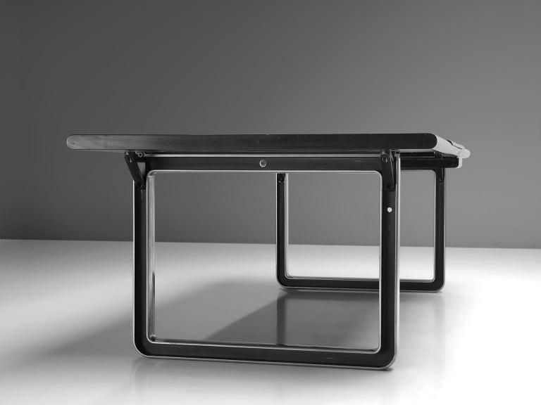 Aluminum Osvaldo Borsani Table with Black Leather Inlay For Sale