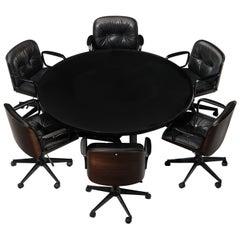 Osvaldo Borsani Table with Set of Six Swivel Chairs by Ico Parisi