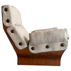 Osvaldo Borsani Tecno P110 Canada Nobilis Fabric Walnut Lounge Chair Italy 1965
