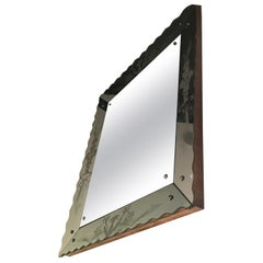 Osvaldo Borsani Wall Mirror Wood or Mirrored Glass with Drawings, 1940