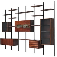 Osvaldo Borsani Wall Unit E22 in Rosewood with Sculpture