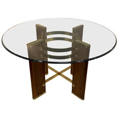 Osvaldo Borsini Round Glass Top Dining Table, Italy, Midcentury