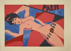 Nude of Woman - Original Lithograph by Osvaldo Peruzzi - 1988