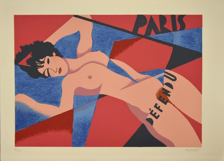 Nude of Woman is an original artwork realized by Osvaldo Peruzzi in 1988.  Mixed colored lithograph.  Hand-signed by the artist on the lower right. Numbered on the lower left margin 91/125.  On the artwork there are printed inscriptions: Paris and