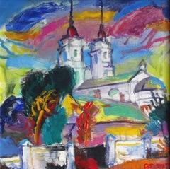 Bright, colorful St.Mary's Church in Daugavpils. 2009, canvas, acrylic, 50x50cm