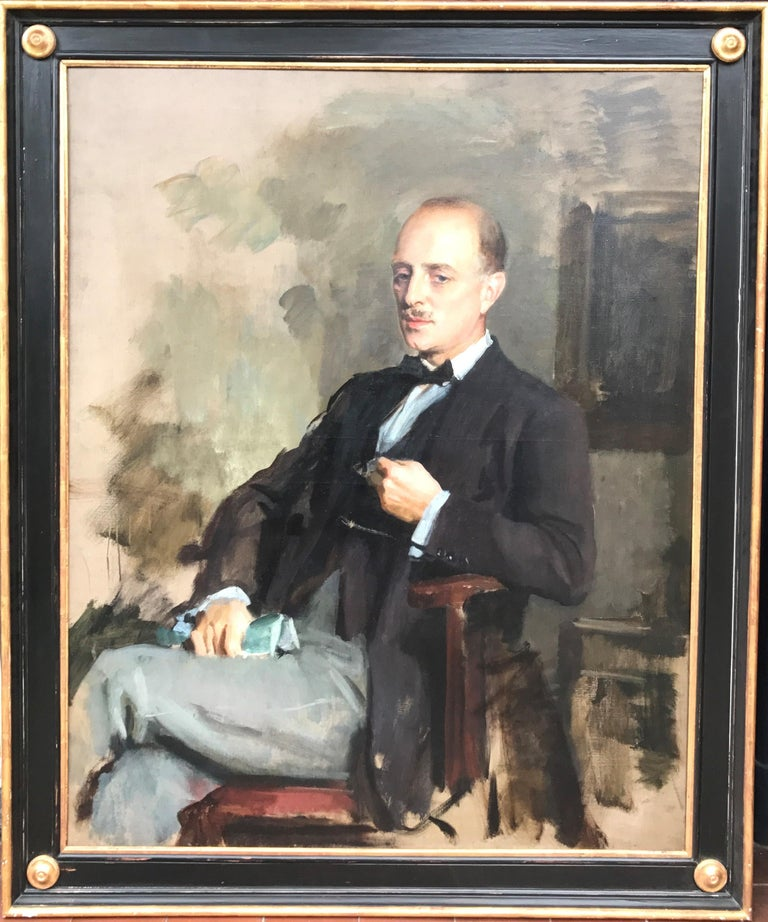 Oil Painting Portrait of Lord Edward Grenfell, 1st Baron St Just (1870-1941) - Black Portrait Painting by Oswald Birley
