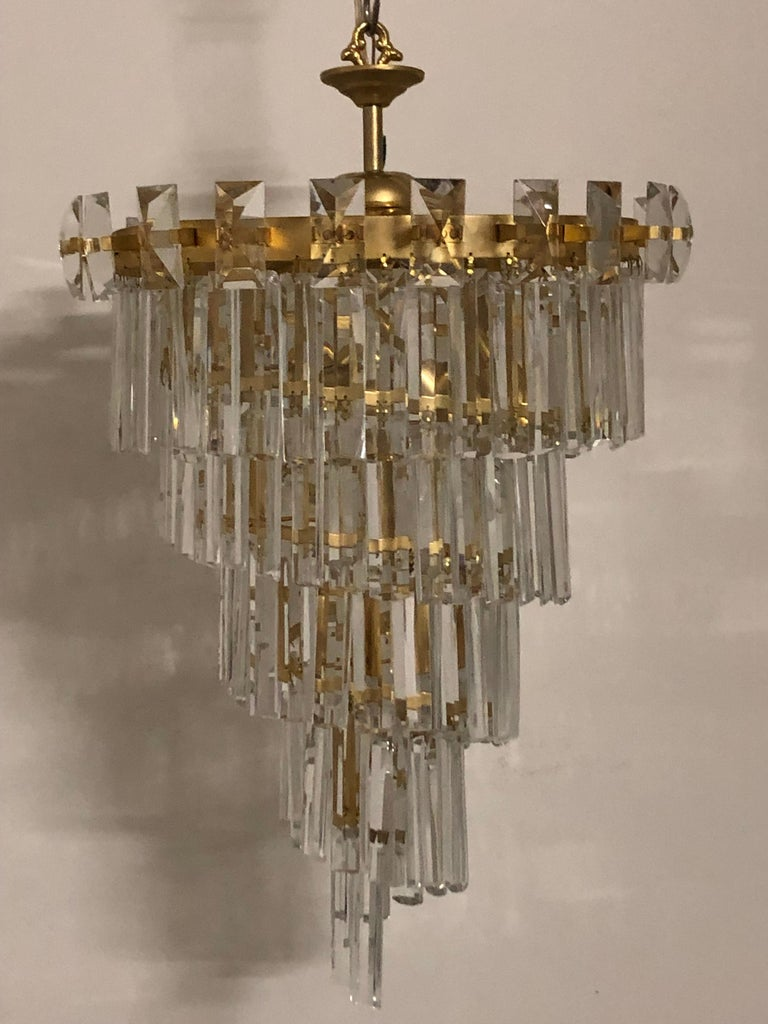 Oswald Haerdtl & Lobmeyr Crystal and Gilt Brass Chandelier, Austria, circa 1950s For Sale 4