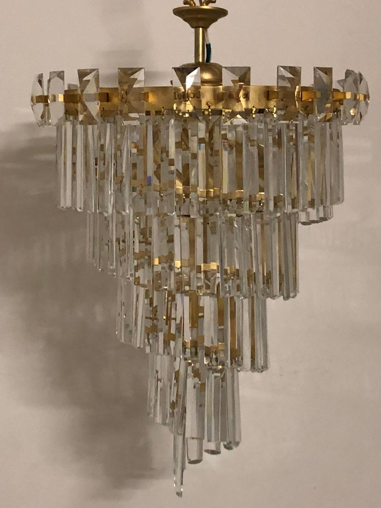 A wonderful and very rare model of a mid-century chandelier designed by Oswald Haerdtl for Lobmeyr. 