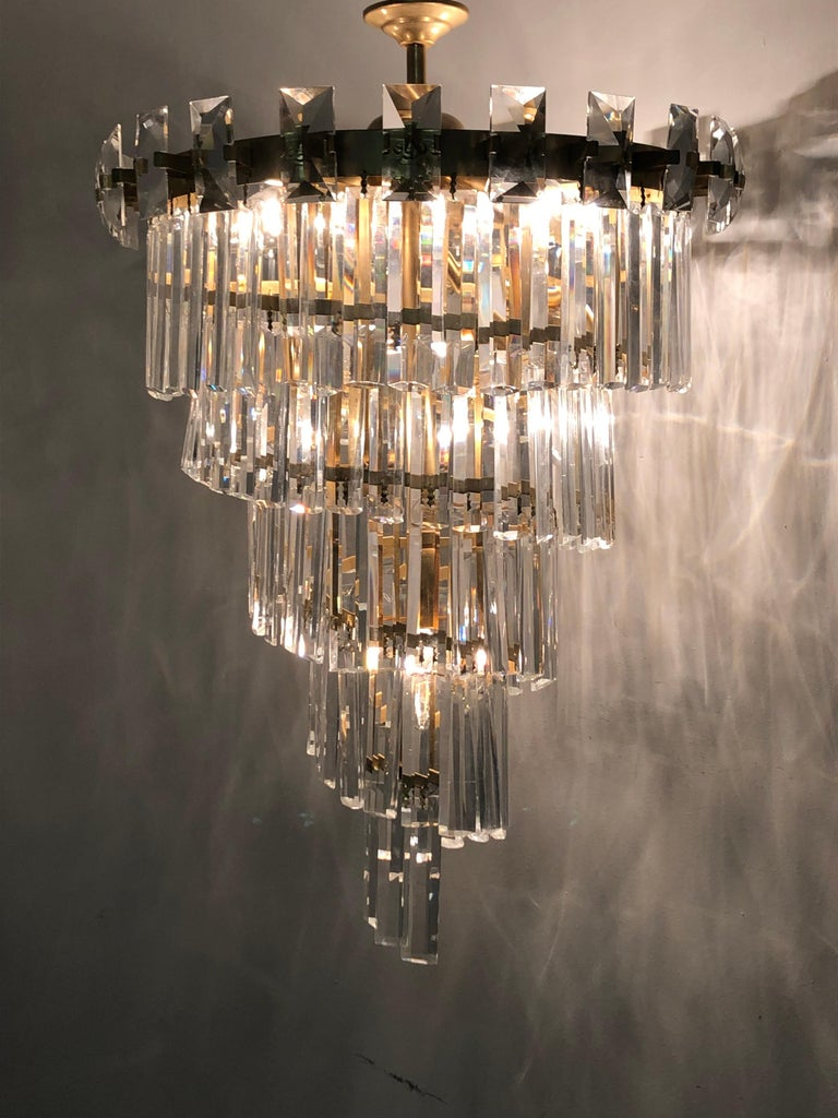 Austrian Oswald Haerdtl & Lobmeyr Crystal and Gilt Brass Chandelier, Austria, circa 1950s For Sale
