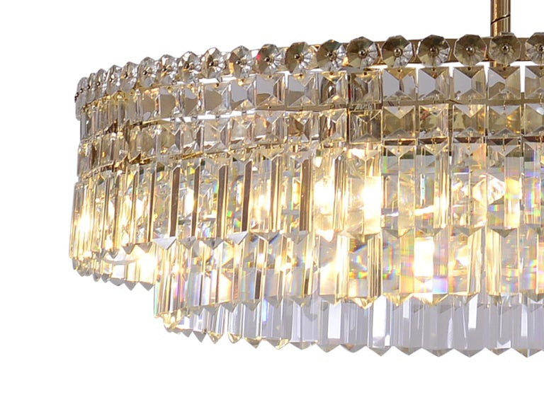 Hand-Crafted Oswald Haerdtl Lobmeyr Midcentury Large Crystal Chandelier, 1950 For Sale