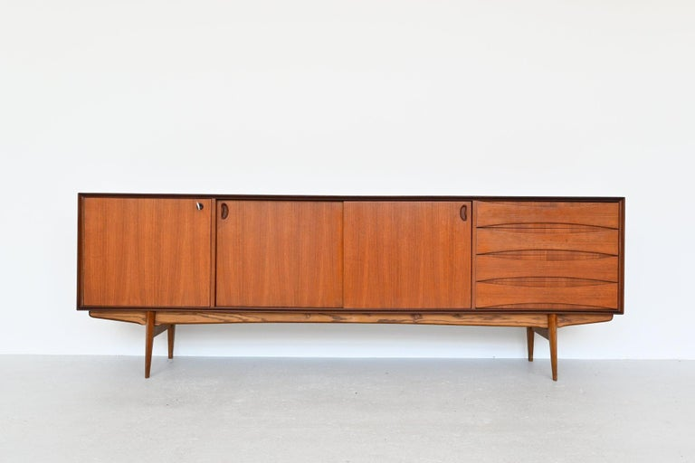 Stunning high quality sideboard designed by Oswald Vermaercke and manufactured by V-Form, Belgium, 1959. This amazing credenza has a very nice teak grain and is in fully original condition. It's a very nicely crafted piece of Belgium midcentury