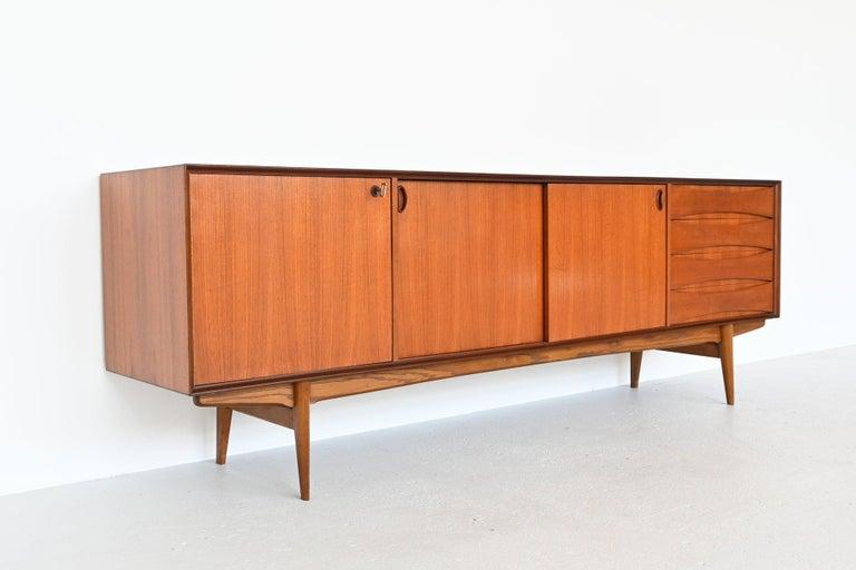 Belgian Oswald Vermaercke Model Paola Teak Sideboard V-Form, Belgium, 1959 For Sale