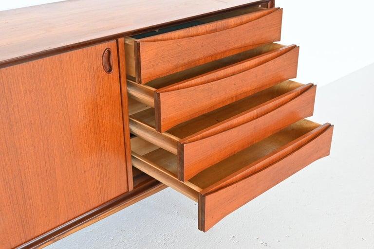 Mid-20th Century Oswald Vermaercke Model Paola Teak Sideboard V-Form, Belgium, 1959 For Sale