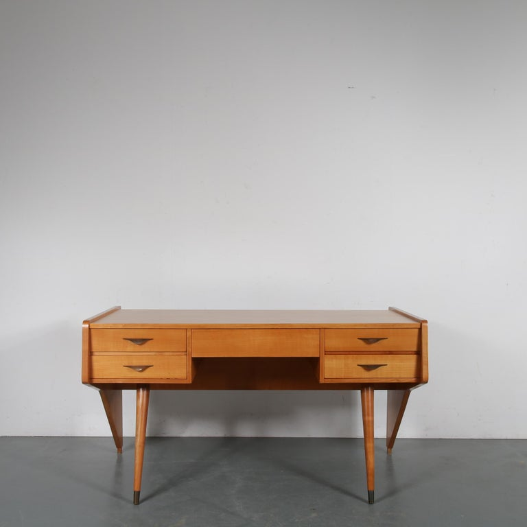 "A beautiful desk design by Oswald Vermaercke, model ""Oslo"", manufactured by V-Form in Belgium, circa 1950.