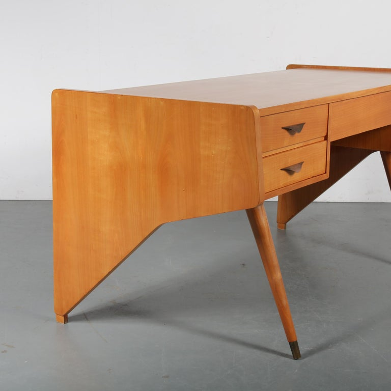 "Brass Oswald Vermaercke ""Oslo"" Desk for V-Form, Belgium, 1950 For Sale"