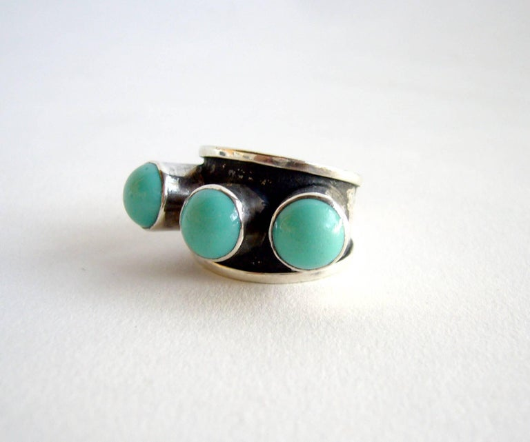 Modernist Oswaldo Guayasamin Silver and Turquoise Ecuadorian Ring For Sale