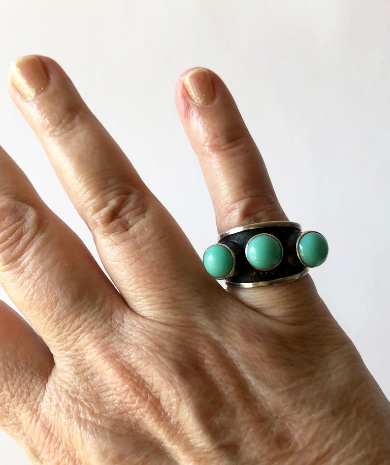 Cabochon Oswaldo Guayasamin Silver and Turquoise Ecuadorian Ring For Sale