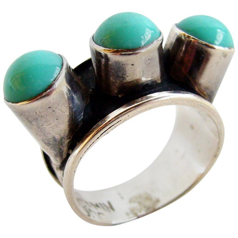 Oswaldo Guayasamin Silver and Turquoise Ecuadorian Ring For Sale