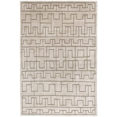 Contemporary Tibetan Rug Hand-Knotted in Nepal, Light Grey - Olive Green