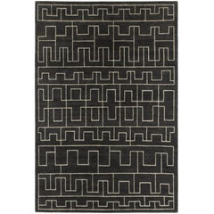 Contemporary Tibetan Rug Hand-Knotted in Nepal Dark Grey Natural Linen