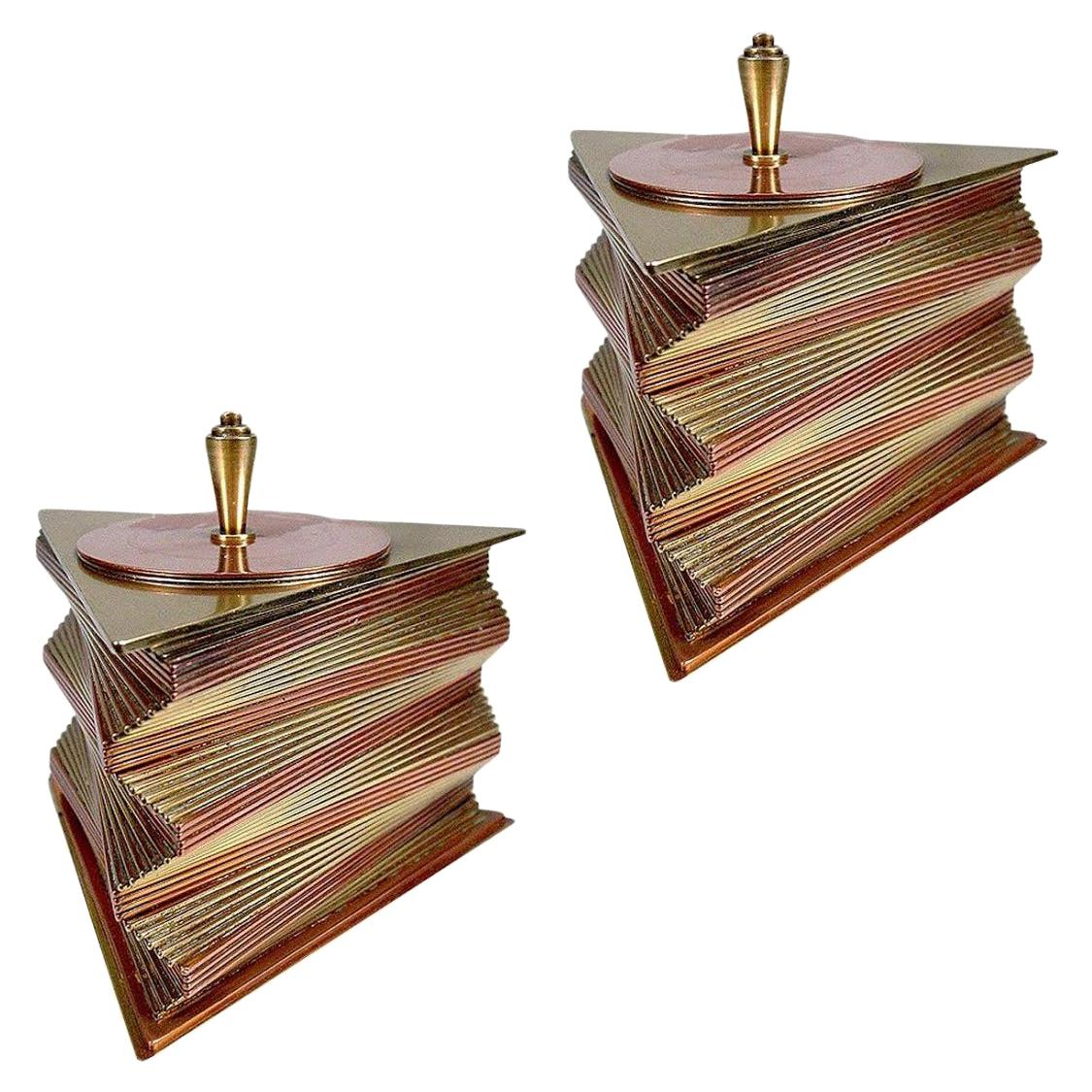 Otar Stacked Brass and Copper Box, Pair