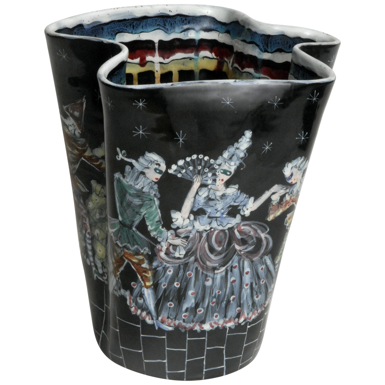 Otello Rosa Designed San Polo Venezia Italy Carnivale Vase, 1955