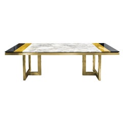 Otello Table in Calcatta and Marquina Marbles by Chiara Provasi