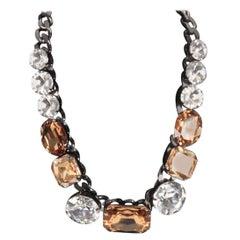 Other Brands MARINA FOSSATI Gunmetal STATEMENT NECKLACE Bicolor Crystals