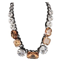 Other Brands MARINA FOSSATI Gunmetal STATEMENT NECKLACE Bicolor Crystals