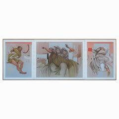 """""""The Glass Answer"""" Surreal Abstract Figurative Triptych Painting"""