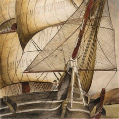 Sailing Ship of 1850s in San Francisco Bay - WPA Mural Study for Post Office