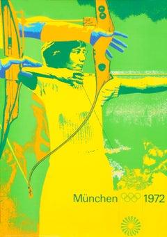 """Olympic Games 1972 - Archery"" Munich Sports Original Vintage Poster"