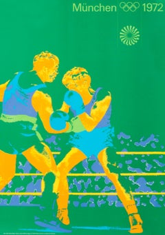 """""""Olympic Games 1972 - Boxing (small)"""" Munich Sports Original Vintage Poster"""