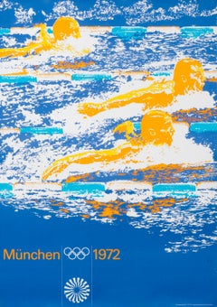 """""""Olympic Games 1972 - Swimming (Large)"""" Munich Sports Original Vintage Poster"""