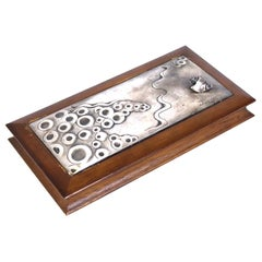 Ottaviani Italian Mid-Century Modern Sterling Silver Lidded Box with Shell Decor