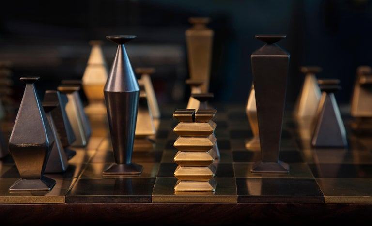 A special chess set in solid, hand-patinated brass and walnut. Handcrafted in the North to order. Available in a range of materials and finishes, Otterburn can truly be customized and utterly unique with endless options and personalizations.