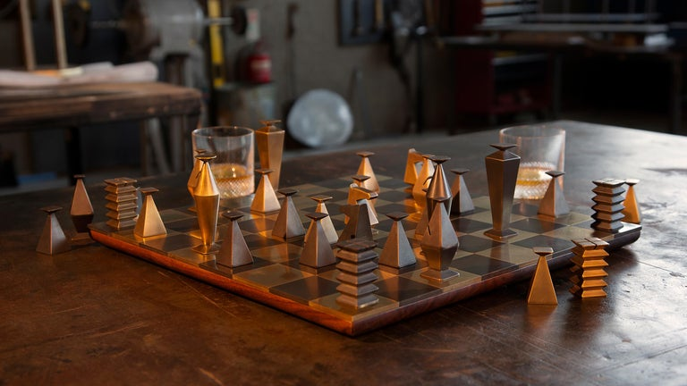 Stainless Steel Otterburn Chess Set For Sale