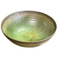 Otto and Gertrud Natzler Green Lava Glaze Bowl with Original Paper Label, 1960