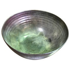 Otto and Gertrud Natzler Reduction Crystalline Glaze Bowl with Paper Label, 1954