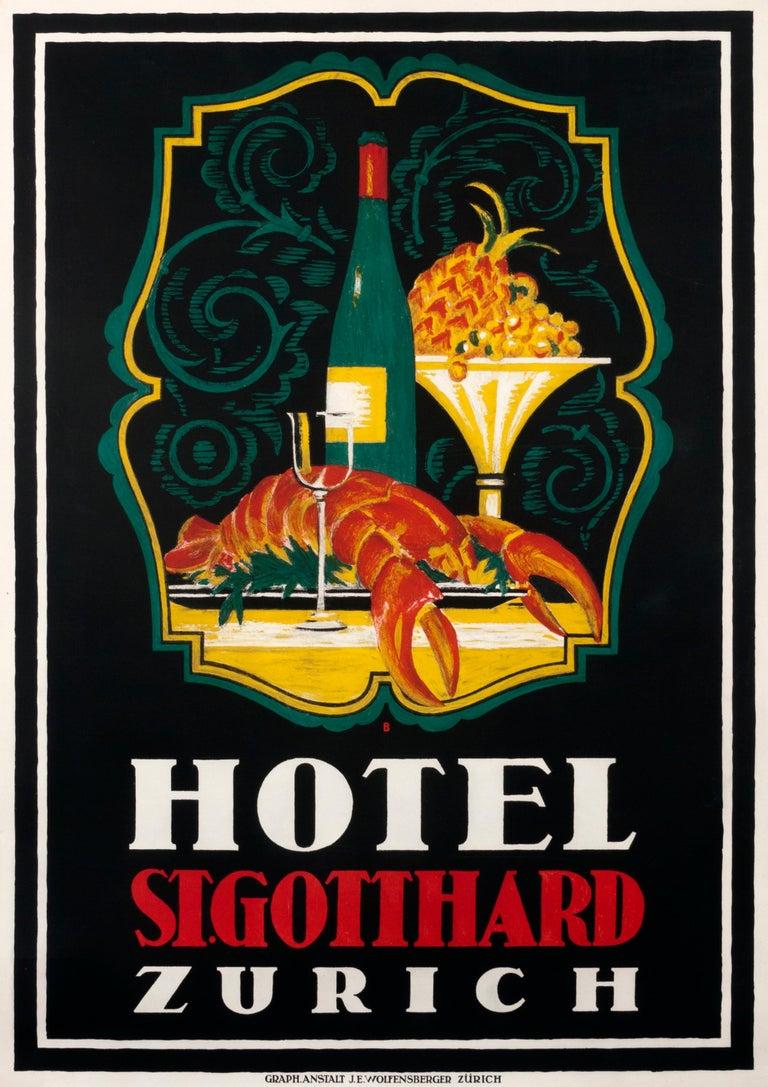 """Otto Baumberger Still-Life Print - """"Hotel St. Gotthard Zurich"""" Original Vintage Hotel Poster"""