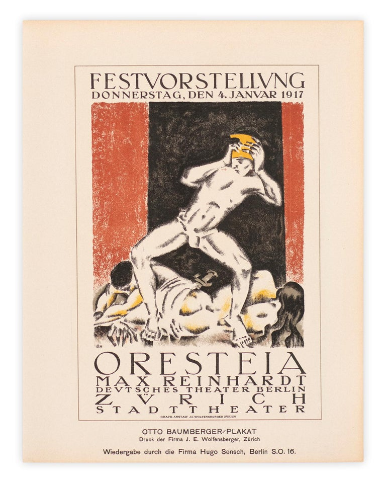 Max Reinhardt's Oresteia, Avant garde expressionist lithograph, 1917 - Expressionist Print by Otto Baumberger