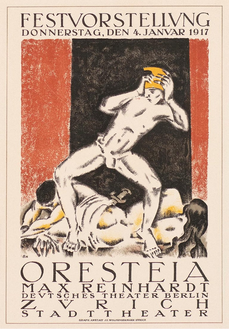 Max Reinhardt's Oresteia, Avant garde expressionist lithograph, 1917 - Print by Otto Baumberger