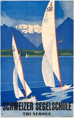 """Schweizer Segelschule Thunersee"" Original Vintage Boating Poster"