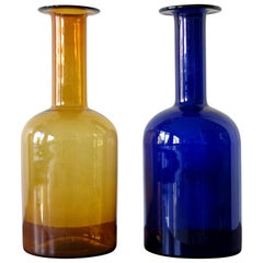 Otto Brauer Danish Yellow and Blue Glass Kastrup Gulvases for Holmegaard, 1960s
