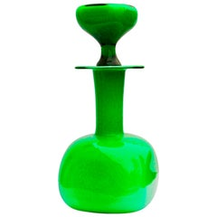 Otto Brauer Green Hand Blown Glass Bottle for Holmegaard, Denmark, circa 1960