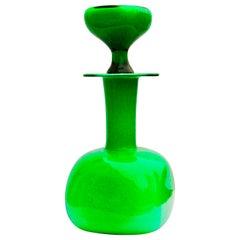 Otto Brauer Green Hand Blown Glass Bottle for Holmegaard, Denmark, circa 1960